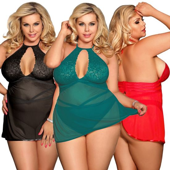 Wholesale Three Color in Stock Plus Size Sexy Babydoll