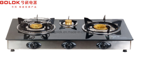 Home Appliance Tabletop Three Glass Stove T626A Gas Cooker
