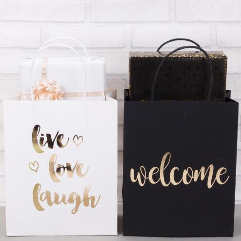 Oem Gold Foil Printed White And Black Paper Packaging Gift Bag