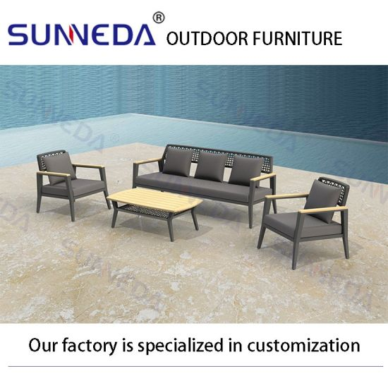 Wholesale Metal Leisure Wooden Table and Chair Modern Outdoor Garden Furniture