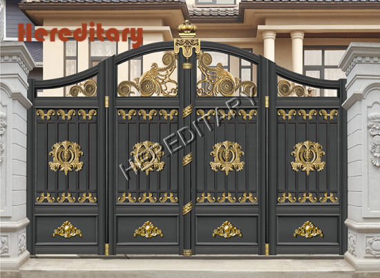 Modern Gray Color Aluminum Main Entrance Gate Design with Automatic Lock