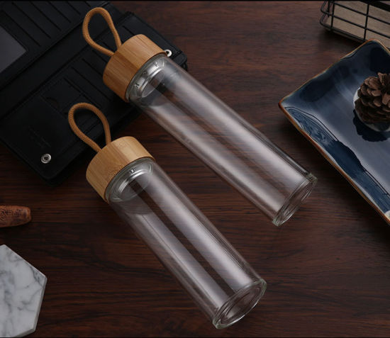 Portable Design Glass Refill for Thermos High Borosilicate Glass Water Bottle for Outdoor with Bamboo Lid