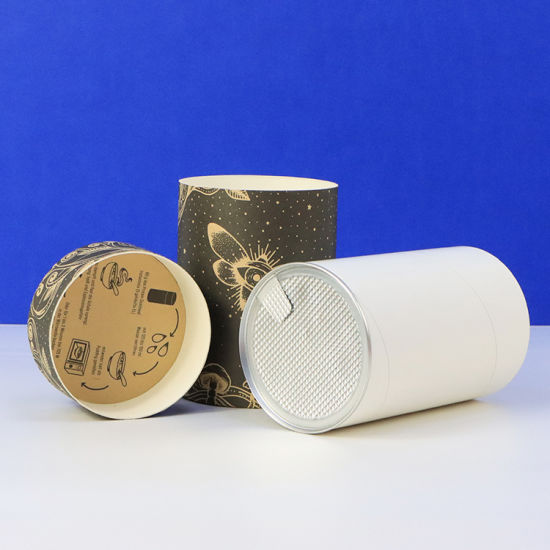Firstsail Eco Friendly Recycled Printed Kraft Cardboard Cookies Paper Cans Packaging Aluminum Foil Easy Tear End Round Tube for Pet Food