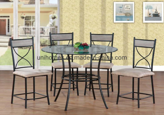 5 Pcs Set Round Glass Metal Dining, Round Glass Dining Table Set 4 Chairs