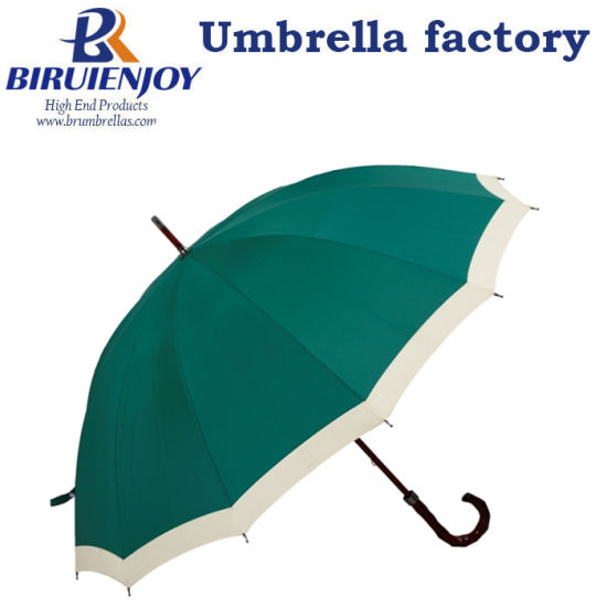 Dark Green Custom 12 Ribs Golf Straight Umbrella with Wood Curved Handle