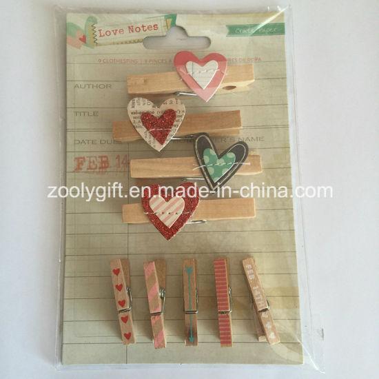 China Wooden Shaped Clothespin Decorative Mini Wood Pegs China