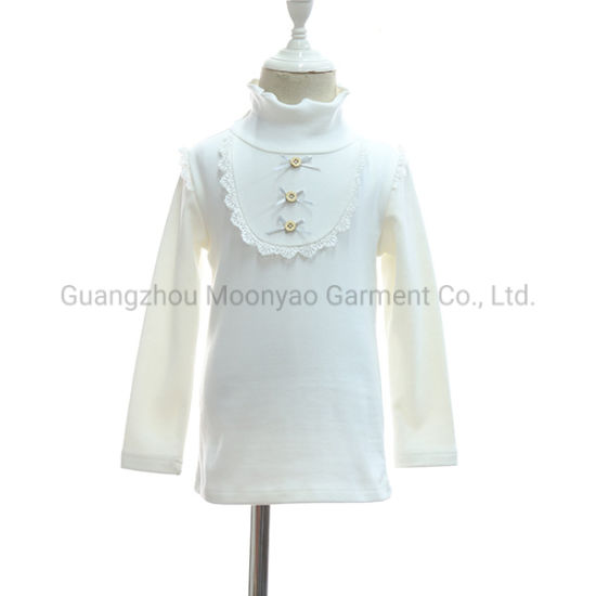 Turtleneck T Shirt with Bows Top Wear Clothes for Children Kids