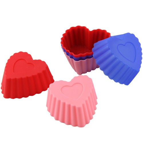 Food Grade Love Heart Shape Silicone Muffin Cups Baking Trays Cake Moulds