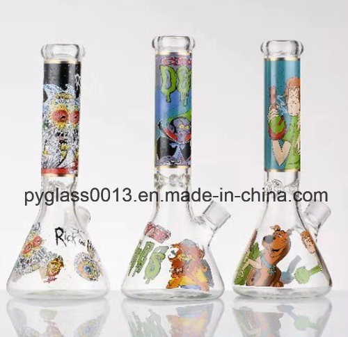 Wholesale Tobacco Glass Smoking Water Pipe with Decals