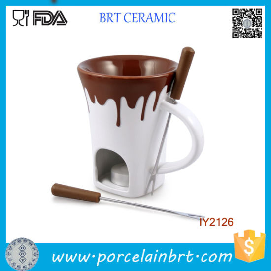 Ceramic with Overflowing Chocolate Warm Fondue Grill