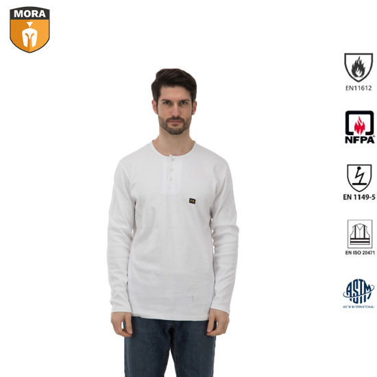 Safety Outdoor Flame Resistant Henley Shirts with Buttons