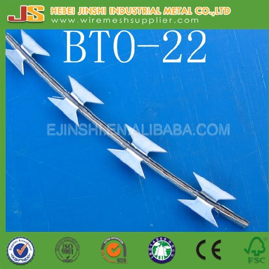 China Bto-22 Hot Dipped Galvanized Military Concertina Razor Wire ...