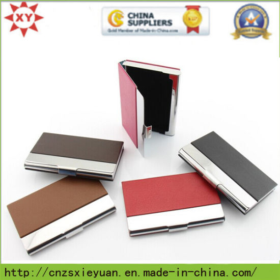 China Custom Metal Business Card Holder With Leather China
