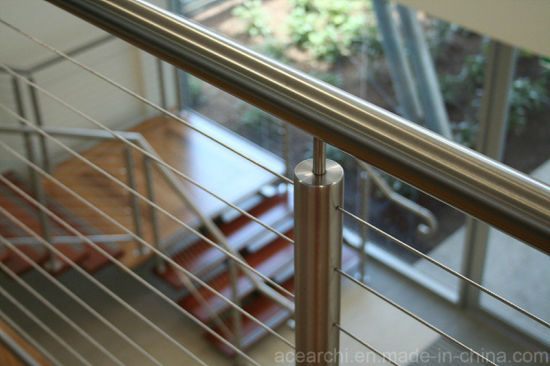 China 304/316 Stainless Steel Cable Railing/Wire Balustrade/Wood Top ...