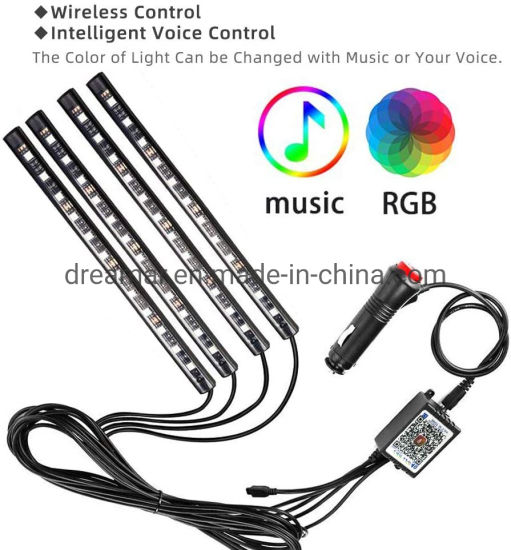 Car Under Dash Lighting Kits 4pcs Music Sync Interior Car Lights 48 LEDs MultiColor LED Strip Lights w//Sound Active Function Wireless Control USB Car Charger LED Interior Atmosphere Lights DC 5V