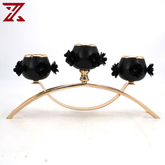 Hot Sale 3 Heads Gold Plated Black Candle Holder for Table Decoration Candlestick