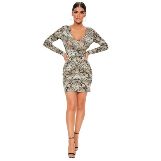 Fashion Women Clothing Snakeskin Pattern Slim Dress Women Backless Dress