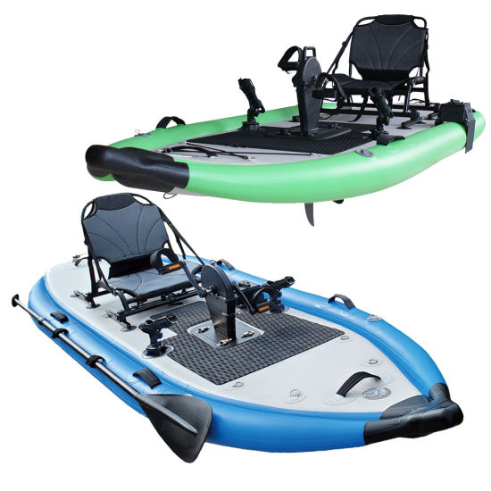Site on Top Inflatable Fishing Kayaks Boats with Pedal Drive Fishing Rod Holder