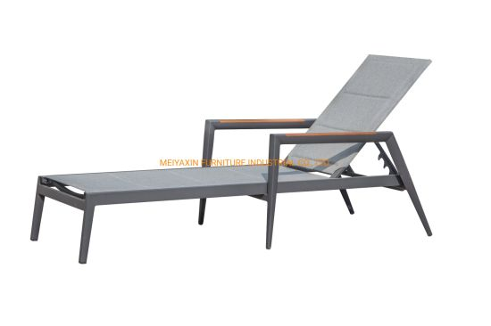 Restaurant Furniture Luxury Outdoor Leisure Aluminum Sofa with Teak for Project
