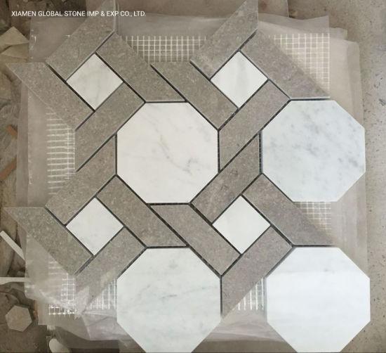 China Mixed Color Grey White Marble Mosaic Tiles Octagon Shape Design For Bathroom Kitchen Wall Backsplash Panels China Bathroom Tile Wall Tile