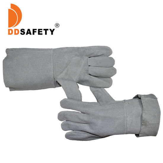 Ddsafety Grey Cheap Cow Leather Work Gloves