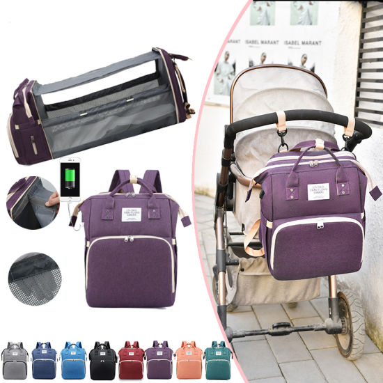 Multifunctional Baby Crib Bed Mummy Baby Mommy Nappy Backpack Diaper Bag with USB Charging Port