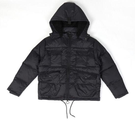 Detachable Hoodie Fashion Black Men Casual Jacket for Winter