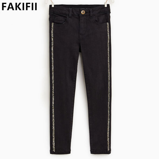 American&European Style Children/Baby/Kid Clothes Kid Wear Jeans with Crystals