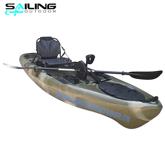 Rotational One Person 10FT Pedals Boat Plastic Touring Fishing Kayak Pedal with Foot Controller Pedal up Down