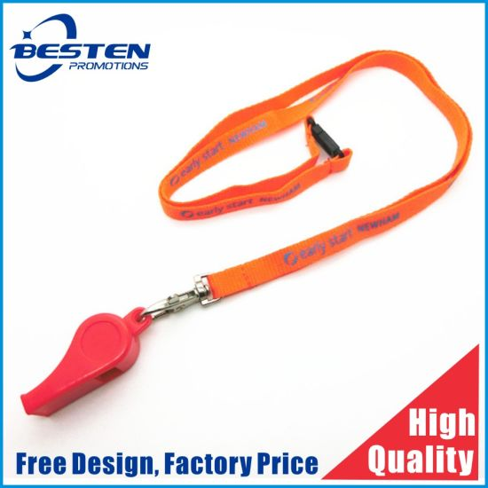 Factory Cheapest Price Custom Flat Polyester Silkscreen Printed Neck Lanyard with Whistle