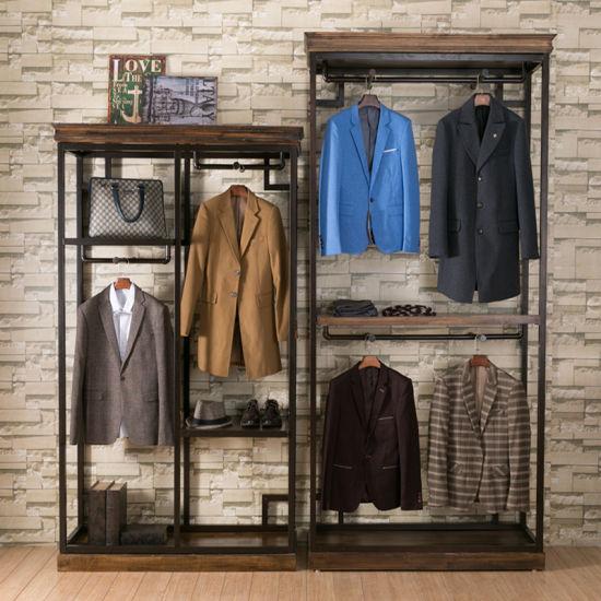 Entryway Wood Display Rack Garment Rack Cloths Display Shelf