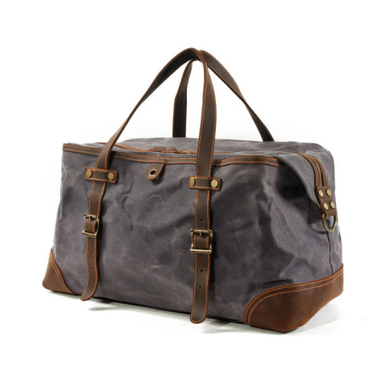 Factory Price Custom Design Waterproof Canvas Leather Travel Bag Men Duffle Bag