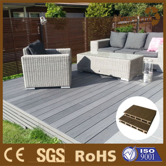 Wood Plastic Composite Patio Flooring Solid WPC Decking Plank