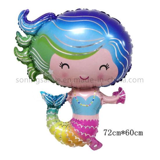Dto0119 Mermaid Shape Balloon Heart Shape Round Mermaid Balloon for Kids