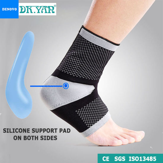 Breathable 3D Knit Sports Ankle Brace with Silicone Pads