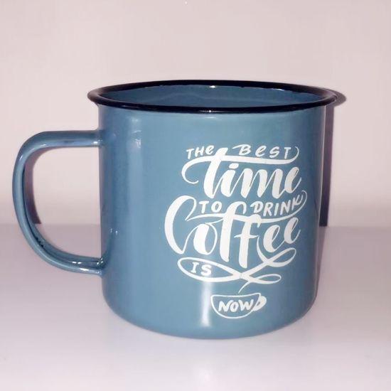 High Quality Carbon Steel Enamel Customized Coffee Mug with Logo in Dark Color