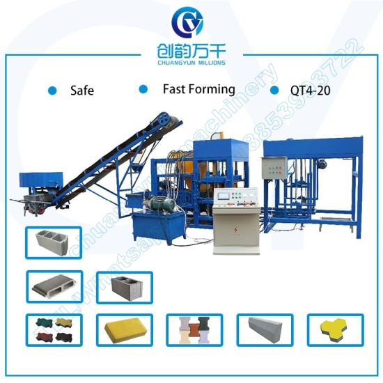 Qt4-20 Cement Bricks Manufacturing Machine in India Hydraulic Concrete Block Machine