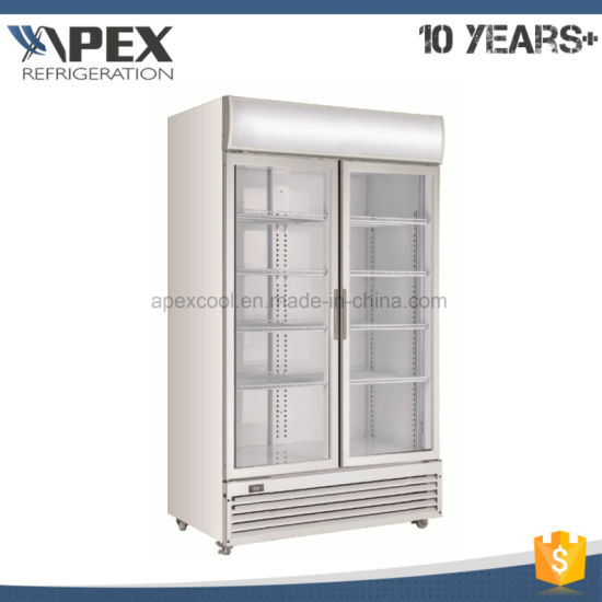 China R404a Two Door Commercial Upright Display Freezer For Coca