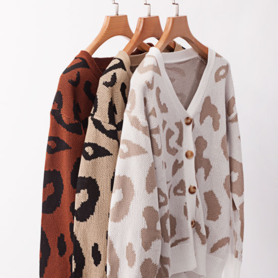 Autumn and Winter Leopard Long-Sleeve Cardigan Women's Sweater Knitting Apparel