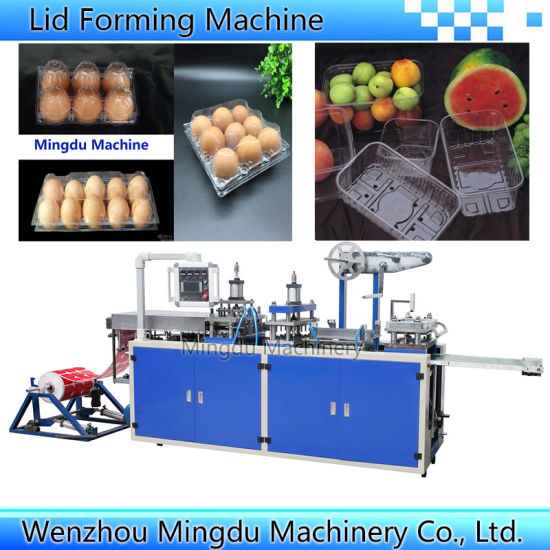 Automatic High Speed Plastic Paper Coffee Cup Lid Cover Flat Tray Fruits Clamshell Packing Box Vacuum Thermoforming Making Forming Machine