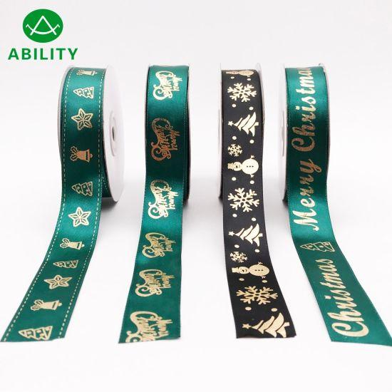 Hot Selling Popular Christmas Gold Foil Printed Satin Ribbon