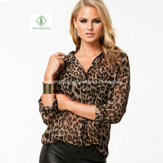 Big Size Fashion Leopard Printed All-Match Blouse Lady Chiffon T-Shirts pictures & photos