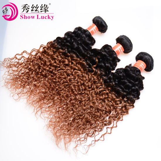 Top Quality Filipino Hair Ombre Kinky Curly Unprocessed Virgin Filipino Human Hair Extension