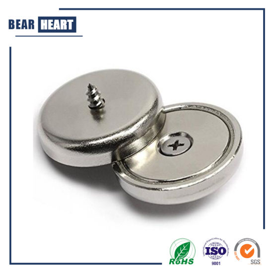 Neodymium Round Base Magnet Super Strong Permanent Rare Earth Magnets Pot Magnets with Mounting Screws