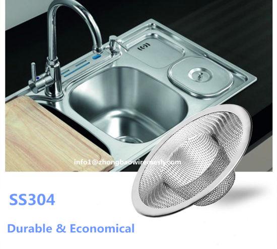 Mesh Sink Strainer Kitchen Bath Drain Hair Catch Stopper Filter Stainless Steel
