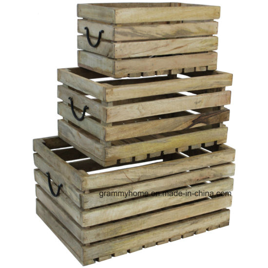 Wooden Crate Vintage Rustic Farm Storage Crates Fruit Apple Display pictures & photos