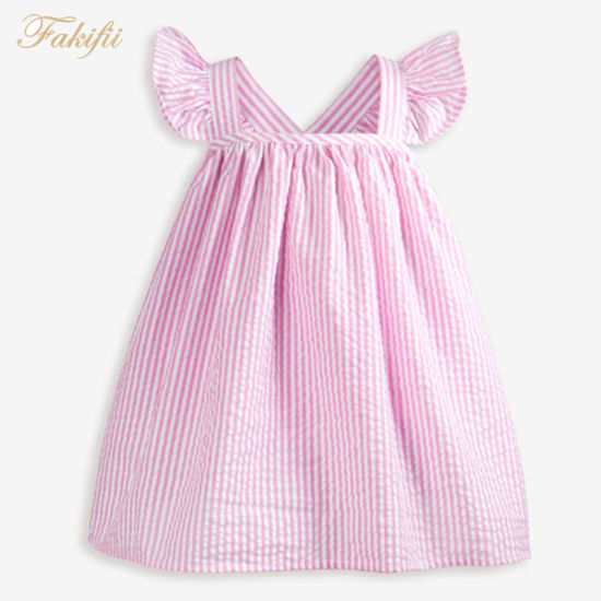 2019 ODM Summer Fashion Cute Girl Party Pink Stripe Dress