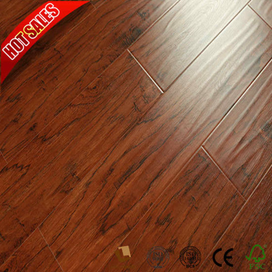 China Low Cost Zebrano Laminate Flooring With Medium Embossed