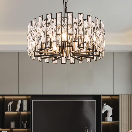 Black Round Modern Post-Modern Crystal Chandelier for Living Room Dining Room