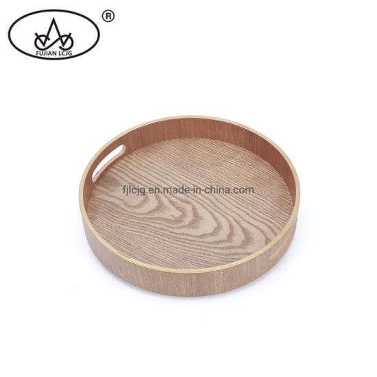 Rustic Round Metal Tray with Wood Handle